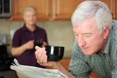 Man Reading Newspaper Stock Photo