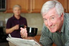 Man Reading Newspaper Stock Photos