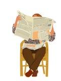 Man reading newspaper Stock Photography