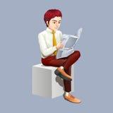 Man reading newspaper alone. Illustration Stock Image