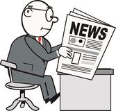 Man reading newspaper cartoon. Cartoon of businessman reading newspaper at desk in black, white and grey Stock Photo