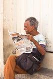 A man reading a newspaper  Cuba Royalty Free Stock Photos