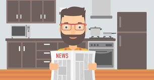 Man reading newspaper. Stock Images