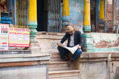 Man reading newspaper, Rajasthan Royalty Free Stock Photography