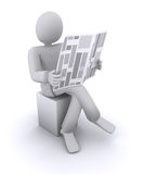 Man reading a newspaper while sitting on a chair Stock Images