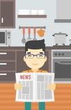 Man reading newspaper vector illustration. Stock Image