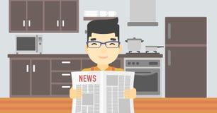 Man reading newspaper vector illustration. Stock Photo
