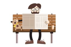 Man Reading Newspapers on Bench with Dog. Retro Hipster Cartoon Vector Illustration
