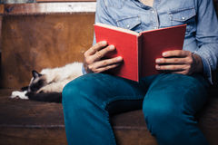 Man reading on sofa with cat Royalty Free Stock Images