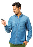 Man Reading Text Message On Smart Phone Stock Photography