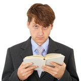 Man reads book isolated on white background Stock Photography