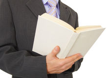 Man reads book on white background Stock Image