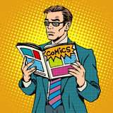 Man reads comic book stock illustration