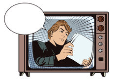 An man reads the documents. News, and fac. Stock illustration. People in retro style pop art and vintage advertising. An man reads the documents. News, and facts Stock Photography