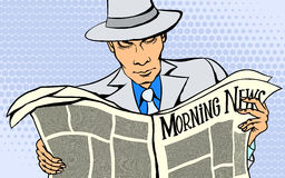 Man reads a news paper Royalty Free Stock Images