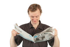 Man reads newspaper Royalty Free Stock Photography