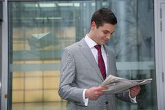man reads newspaper Royalty Free Stock Photo