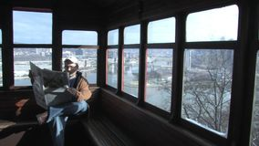 Man Rides Pittsburgh Incline stock footage