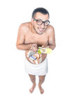 Man ready for bathing Royalty Free Stock Photography