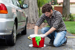 Man ready for car cleaning Stock Image