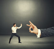 Man ready for fight with boss Stock Image
