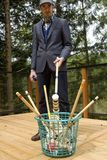 Man ready for a game of croquet Stock Photos