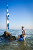 Man ready for snorkeling in Greece sea Royalty Free Stock Photography