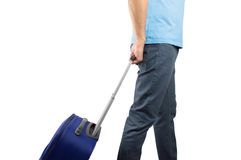 Man ready to boarding. Man walking travel bag over white background Royalty Free Stock Photography