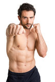 Man Ready to Fight. Male boxer ready to fight, isolated in white stock photo