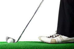 Man ready to hit golf ball. With golf iron Stock Image