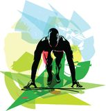 Man ready to run on the track. Vector illustration Stock Photography