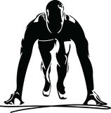 Man ready to run on the track. Vector illustration Royalty Free Stock Images