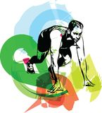 Man ready to run on the track. Vector illustration Stock Image