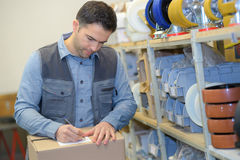 Man ready to send order in puzzle Stock Photos