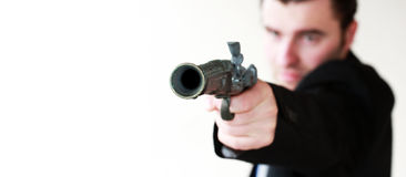 Man is ready to shoot Royalty Free Stock Photos