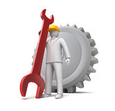 Man ready to work, 3D man with spanner. Over white Royalty Free Stock Photography