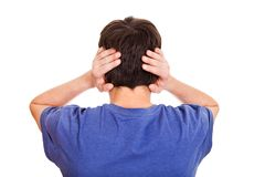 Man Rear View. Rear View of Young Man Covering his Ears Isolated on the white background stock images