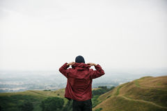 Man Rear View Top Mountain Carefree Cloudscape Concept Royalty Free Stock Photography