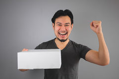 Man received his box. Royalty Free Stock Photography