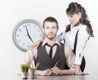 Man Receiving Attention From A Pretty Coworker Royalty Free Stock Photo