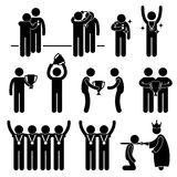 Man Receiving Award Trophy Medal Pictogram. This is a set of people pictograms that represent man receiving award, medal, and honor Royalty Free Stock Photo