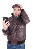 Man receiving bad message Stock Image