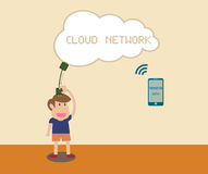 Man receiving data with smart phone via Cloud netw Royalty Free Stock Photo