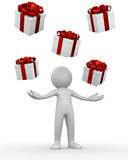 Man receiving gift boxes Stock Photo