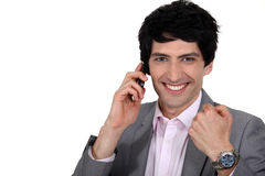 Man receiving good news Stock Photos