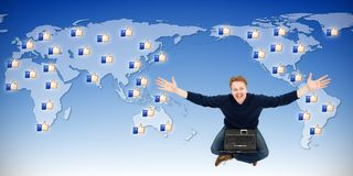 Man receiving likes from around the world Royalty Free Stock Photography