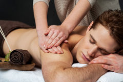 Man receiving relax treatment at spa Royalty Free Stock Image