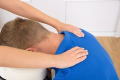 Man receiving shoulder massage Royalty Free Stock Photo