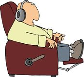 Man in a recliner. This illustration depicts a man listening to headphones while sitting in a recliner Royalty Free Stock Photo