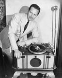 Man with record player Royalty Free Stock Photos